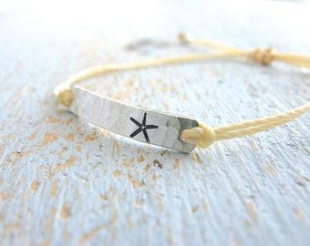 Starfish Bracelet, Silver Starfish String Bracelet, Beach Wedding, Starfish Charm Bracelet, Starfish Wedding Theme, Beach Jewelry