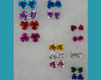 Colorful Aluminum Rose Studs in Bronze, Gold, and Silver