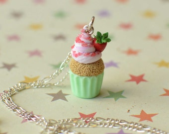 Hand Sculpted Strawberry Cupcake Pendant