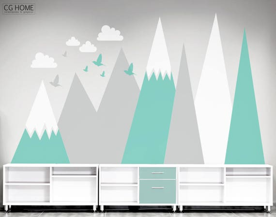 Mountains Wall Decal Wall Protection MOUNTAIN Covering Clouds Birds Mountains Customized Personalized Washable Headboard Sticker Nursery