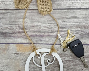 "Car Charm - Car Initials - Rear View Mirror Monogram - 4.5"" Painted Initial with Burlap Bow"