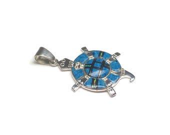 Southwestern Sterling Denim Lapis Opal Turtle Inlay Pendant