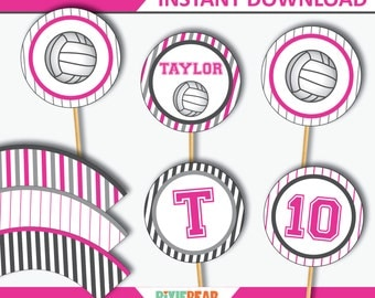 Volleyball Cupcake Toppers - Volleyball Party - Volleyball Birthday - Volleyball Decor - Volleyball Printable Toppers (Instant Download)