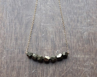 Pyrite necklace, pyrite row necklace, fools gold necklace, layering geometric necklace, silver or 14kt gold fill faceted pyrite jewelry