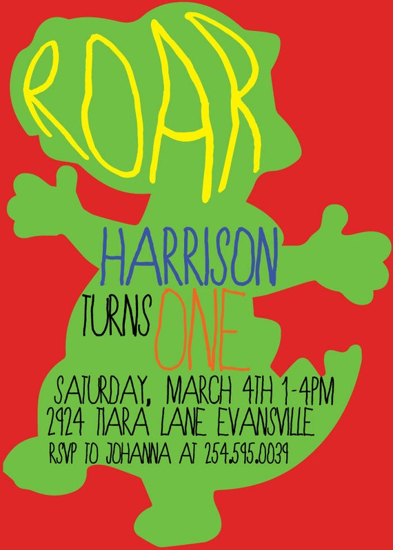 ROAR Dinosaur 1st Birthday Party Invitation