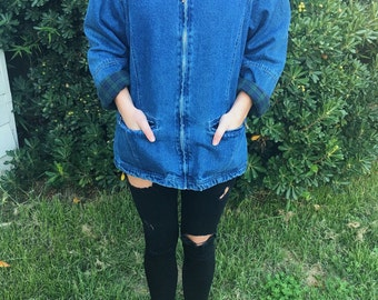 Green and Blue Plaid Flannel Lined Oversized Denim Zip Up Jacket with Pockets