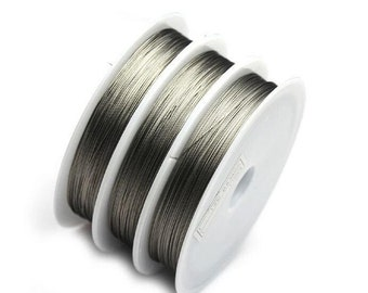 1 Roll 100 Meters / 0.45mm Tiger Tail Beading Wire, Non Tarnish Permanently Colored, Silver Beading Craft Wire, Jewelry Making Findings