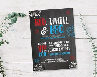 Red White & BBQ 4th of July Party Invitation Printable PDF or Printed Cards   American, Patriotic, Beer, Summer Stationery Fun Family