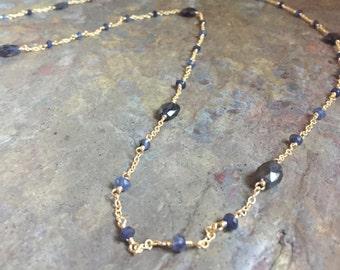 Iolite gemstone gold long necklace