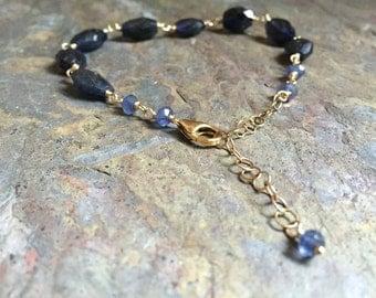 Iolite gemstone gold bracelet