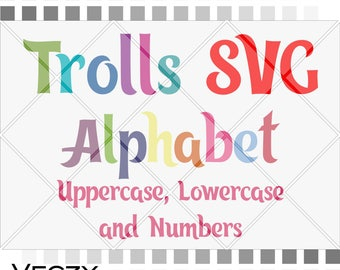 Trolls svg Alphabet, trolls svg, trolls birthday svg, svg font, disney font, svg fonts for cricut, svg files for cricut, Cricut Downloads.