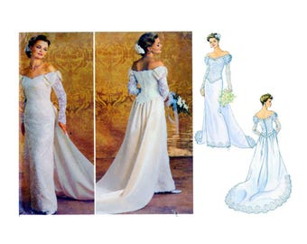 Butterick 4288, Wedding Gown, Sewing Pattern, Size 6 8 10 12, Train, Basque Bodice, Straight Skirt, Lace Overlay, Long Sleeve, Bow, UnCUT