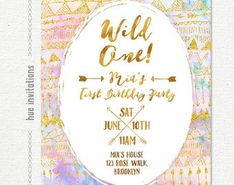 wild one 1st birthday invitation for baby girl, tribal arrows watercolor gold glitter girls first birthday party invitation, printable file
