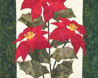 Zebra Patterns Poinsettia Flower Laser Pre-Cut Pre-Fused Applique Quilt Kit with Pattern and Fabric Background