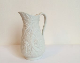 Vintage Portmeirion Jug with Grape and Vine Design, Small White Vase, British Heritage Collection