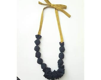 Black silk necklace. Original fabric bib necklace