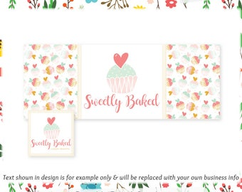 Cupcake Facebook Cover & Profile Image - Limited Edition! Coordinating Logo Available! Perfect for Bakery, Dessert Shop, Blog + much more!
