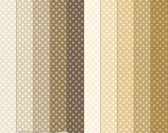 """Digital Printable Scrapbook Craft Paper - A4 - Polka Dots in Brown Shades - 8.5 x 11"""" - PU/CU Commercial Use"""