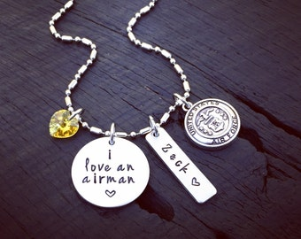 I Love An Airman Necklace | Air Force Wife Necklace | Air Force Mom Jewelry | Air Force Girlfriend Necklace | USAF Girlfriend Jewelry