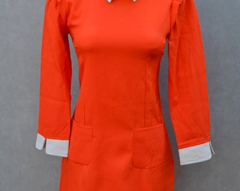 1960's Orange Long Sleeve Dress with Unique Peter Pan Collar and Unique Embellishments.
