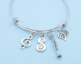 Clarinet Bangle Bracelet in stainless steel.   Music jewelry.  Clarinet Gifts. Music gifts. Music teacher gift.  Clarinet jewelry.  Bracelet
