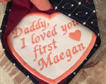 Personalized Tie Patch, Father daughter gift, Wedding Tie Patch, Daddy daughter, Embroidered Tie Patch, Father of the bride gift, Tie Patch