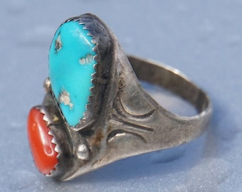 Vintage Native American Indian Navajo Coral and Turquoise Silver Ring size 10