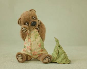 Big SALE 25%! Teddy bear Alvin  is artist plush toy , brown stuffed teddy bear toy, cute soft toy for gift/ ! FREE SHIPPING !