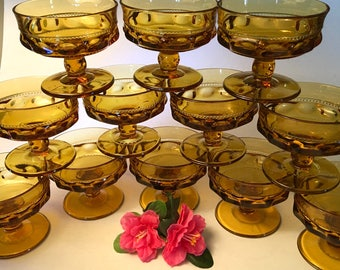 Amazing set of 12 King's Crown amber glass sherbet dishes