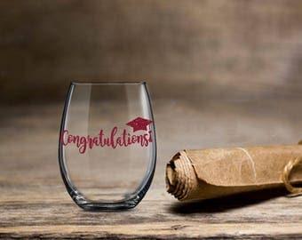 Congratulations Graduation Gift, Graduation Wine Glass, 2017 Graduation Wine, Stemless Wine Glass, College Wine Glass, College Grad Wine