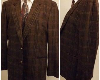80s Vintage Reggiani Brown Fine Merino Wool Sport Coat Size 40 R