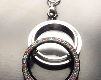 Large Colorful Crystal Silver Floating Locket-30mm-Stainless Steel-Multicolored Crystal Face-Gift Idea for Women