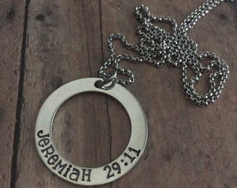 Jeremiah 29:11 Necklace, Custom Scripture Necklace, Jer 29 11, Personalized Washer Necklace, Confirmation Gift, Hand Stamped Necklace