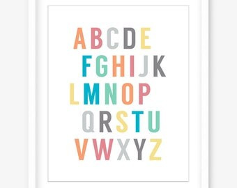 Printable alphabet nursery art - printable nursery poster - alphabet art - nursery wall decor - kids art - kids wall art - INSTANT DOWNLOAD