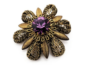 Vintage Antiqued Brooch With Amethyst Crystal and Filigree