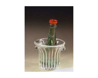 Blowed glass ice bucket and bottle, dollhouse miniature 1:12 scale. Artisan.