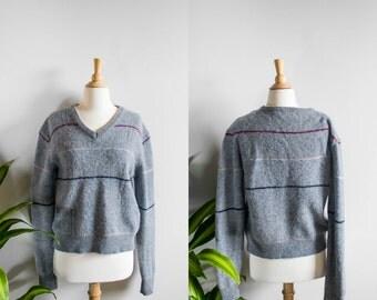 VTG 50's Gray Wool Striped Sweater
