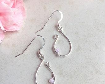Pink Earrings, Bridesmaids Earrings, Statement, Light Pink, Peirced Earrings, Bridal Earrings, Small, Dangle, Hoop, Wire Earrings, Romantic