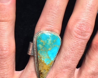 Kingman turquoise tufa cast ring sterling silver Native American Indian made tear drop landscape green blue