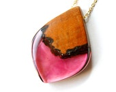 Large pendant handmade from Australian wood and mulberry violet/ magenta coloured resin