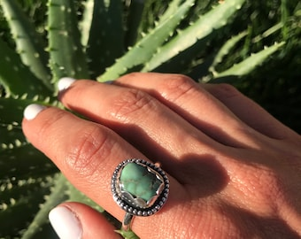 Damele Turquoise Ring, Sterling silver 925, one of a kind ring, Damele ring, handmade ring, boho jewelry, Turquoise ring, size 9