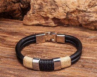 Mens Leather Bracelet, Metal Buckle Clasp, Mens Gift, Gift For Men, Boyfriend Gift, Birthday Gift CS-10, CS-11
