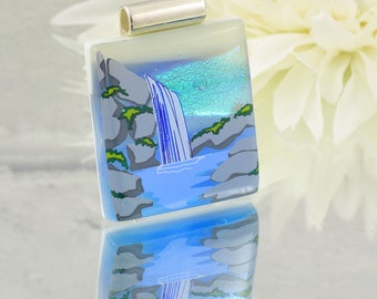 Fused Glass Pendant - Dichroic Glass Picture Pendant Lake with Waterfall - Fused Glass Jewellery. JBT 252