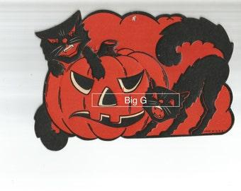 Vintage Halloween die cut black cat and JOL pumpkin digital download printable image 300 dpi