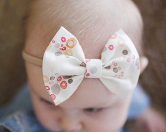 SALE: Cream Watercolor Baby Bow