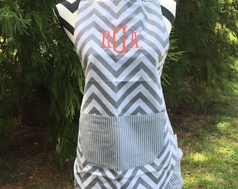 Women's Monogrammed Apron- Monogram Chevron Apron- Embroidered Apron- Gifts for Her- Bride Gift Idea- Free Shipping