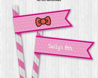 Hello Kitty Straw Flags