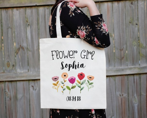 Flower Girl Tote Bag, Floral Canvas Tote Bag, Maid of Honor Tote Bag, Bridal Party Tote Bag, Will You Be My Flower Girl Tote Bag, Proposal