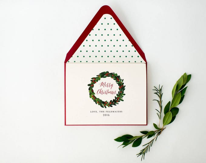 personalized holiday christmas cards + lined envelopes (set of 10) // lola louie paperie