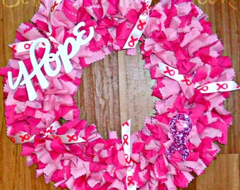 Breast Cancer Wreath, Ribbon Wreath, Breast Cancer, Fabric Wreath, Rag Wreath, Cancer Wreath Ribbon, 12in Rag Wreath, Cancer Awareness, Pink